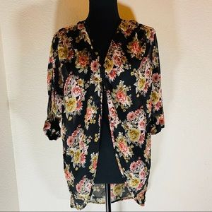 Teenbell Floral Kimono Open Front, Size: Small